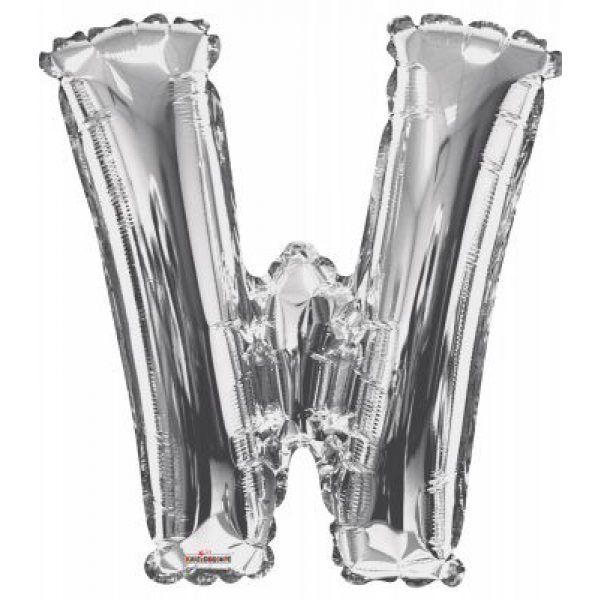 W Buchstabe Silber Folienballon 87 cm-0