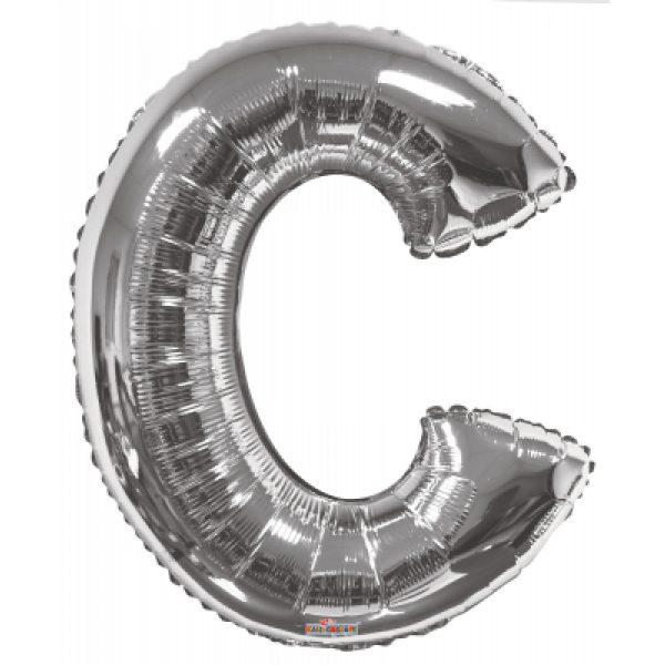 C Buchstabe Silber Folienballon 87 cm-0