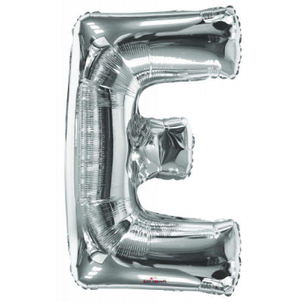 E Buchstabe Silber Folienballon 87 cm-0