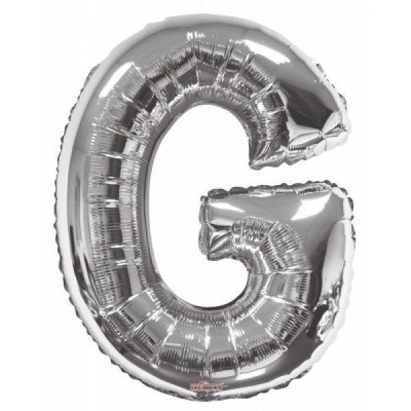 G Buchstabe Silber Folienballon 87 cm-0