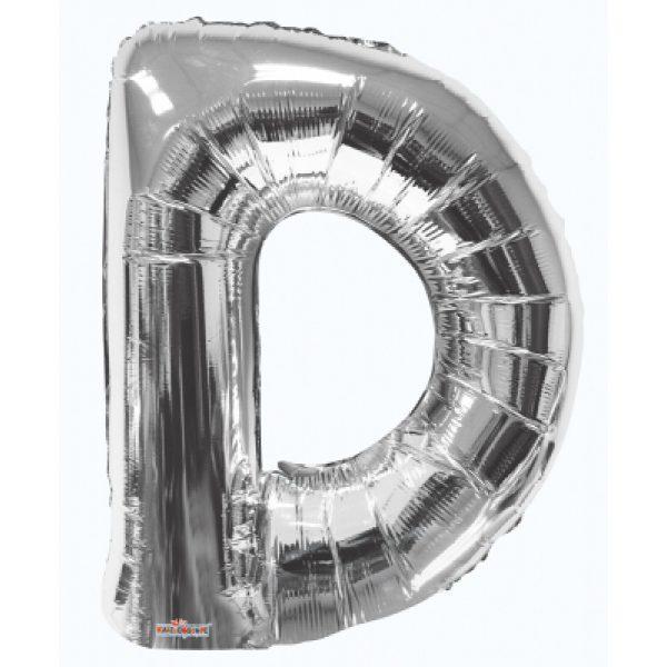 D Buchstabe Silber Folienballon 87 cm-0