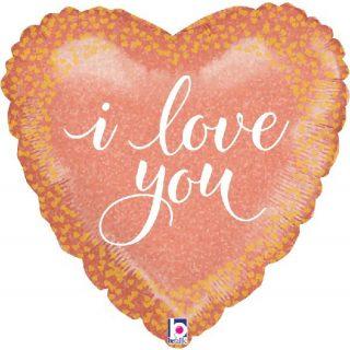 I Love You Rose Gold Herz Folienballon 45 cm-0