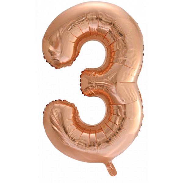 Zahlenballon 3 Rose Gold 86 cm-0