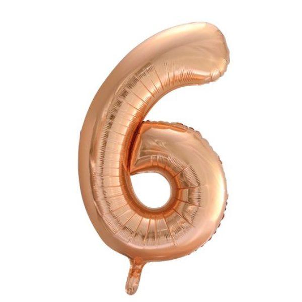 Zahlenballon 6 Rose Gold 86 cm-0