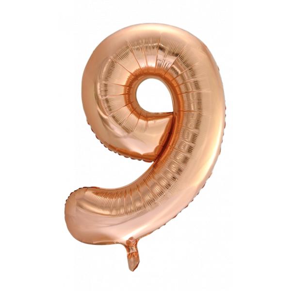 Zahlenballon 9 Rose Gold 86 cm-0