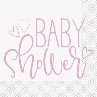 16 Baby Shower Servietten Rosa-0