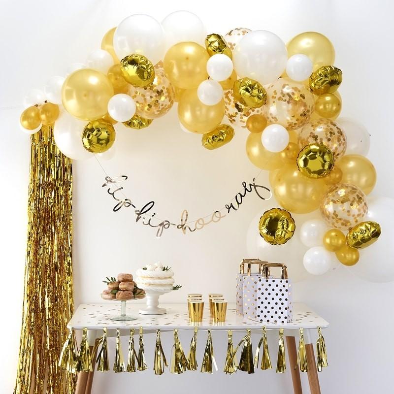Ballonbogen Kit Gold Weiss 70 tlg.-0