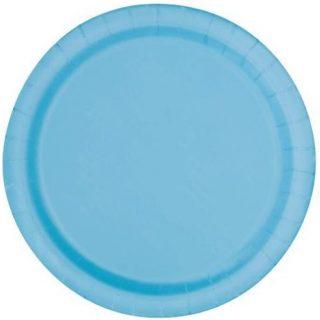 16 Runde Pappteller Hellblau 23 cm-0
