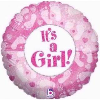 It's a Girl Folienballon Betallic Footsteps 45 cm-0