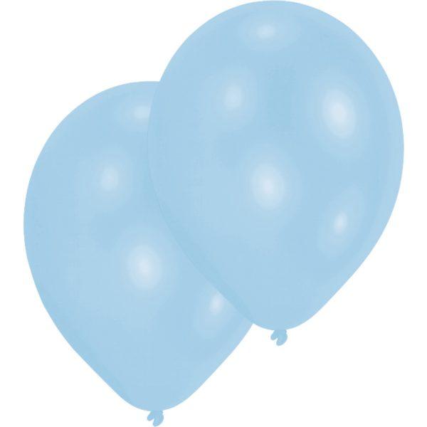 10 Hellblaue Luftballons 28 cm-0