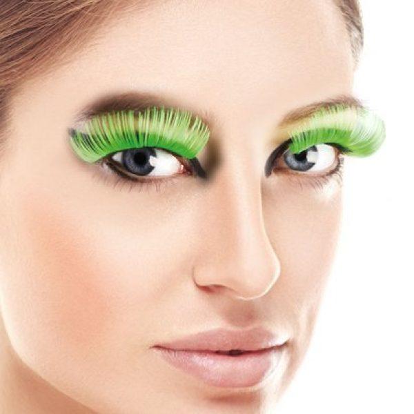 Lange Grüne Wimpern mit Klebestreifen-0