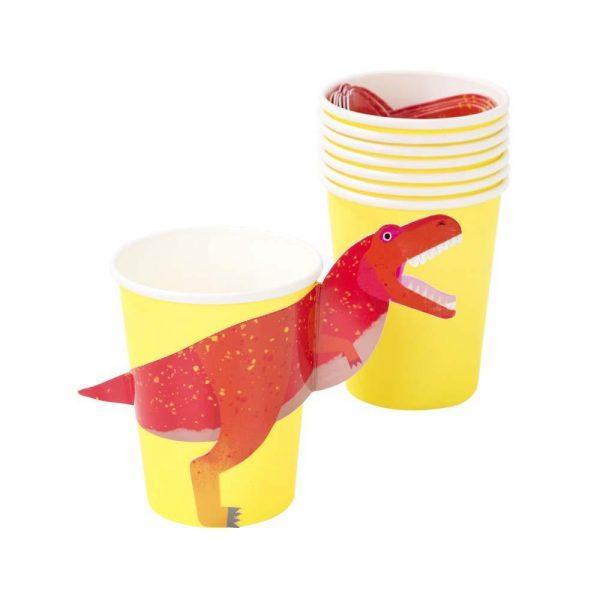8 Dinosaurier Pappbecher mit 3D T-Rex-7141