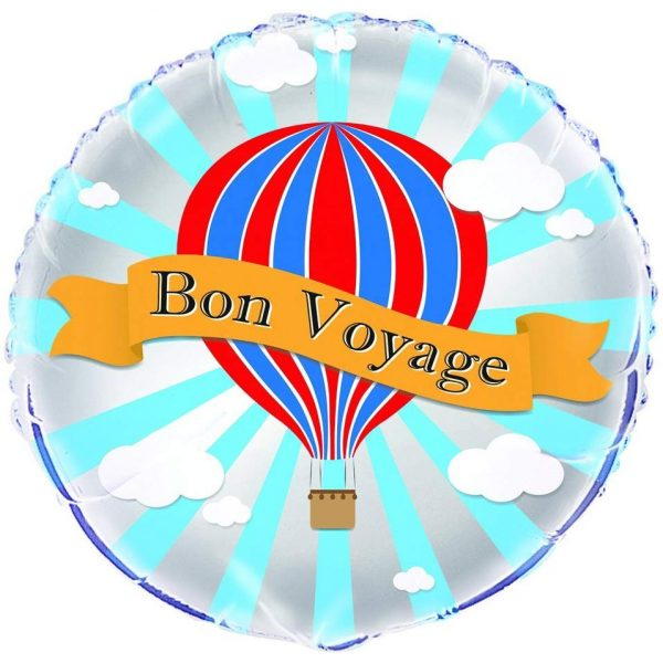 Bon Voyage Heissluftballon Folienballon 45 cm-0
