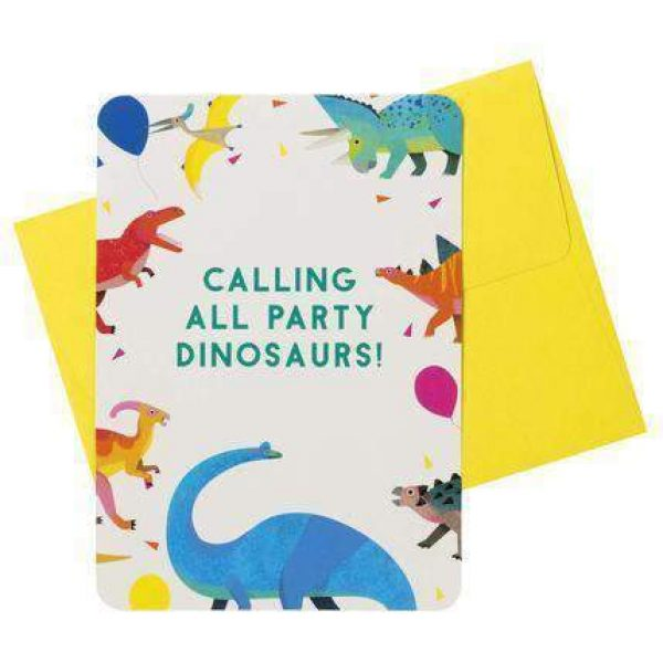 8 Dinosaurier Einladungen-0
