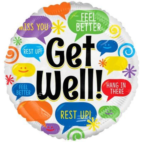 Get Well Sprechblase Folienballon 45 cm-0