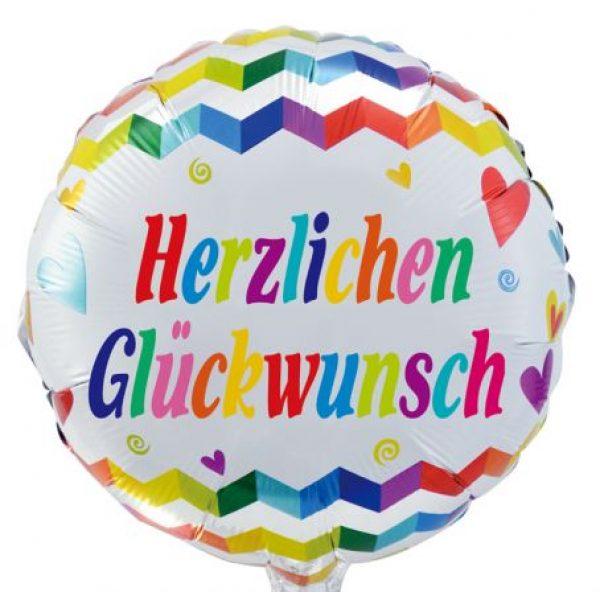 Herzlichen Glückwünsch Chevrons Folienballon 45 cm-0
