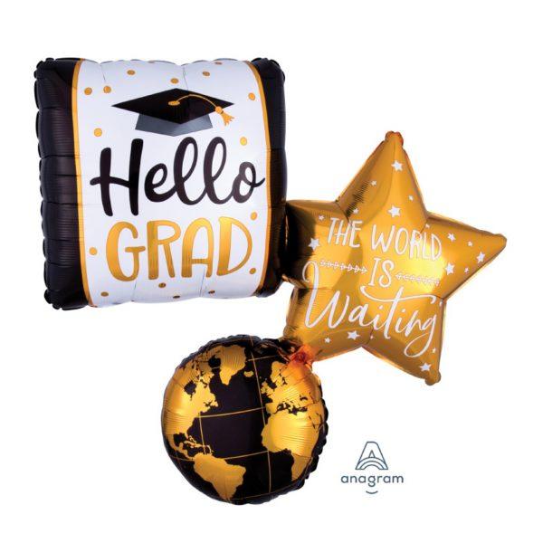 Hello Grad The World is Waiting XL Folienballon 86 cm-0