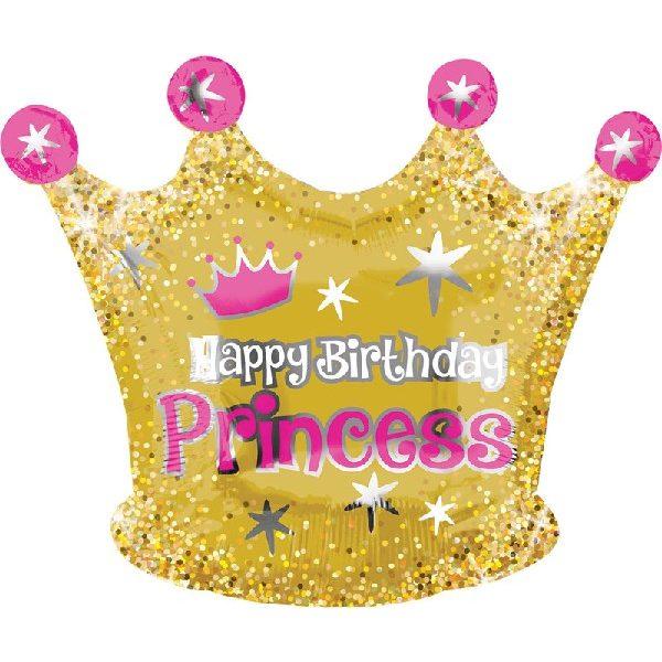 Krone Folienballon mit Happy Birthday Princess 50 cm-0
