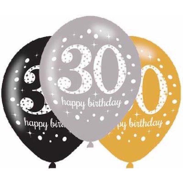 6 Stk. 30. Geburtstag Celebrations Luftballons 28 cm-0