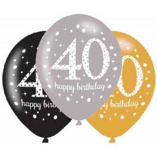 6 Stk. 40. Geburtstag Celebrations Luftballons 28 cm-0