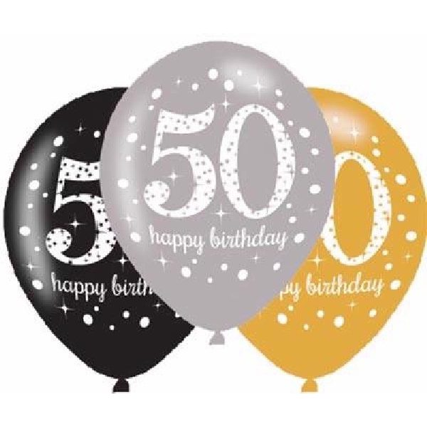 6 Stk. 50. Geburtstag Celebrations Luftballons 28 cm-0