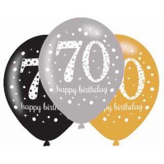 6 Stk. 70. Geburtstag Celebrations Luftballons 28 cm-0