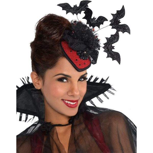 Fledermaus Vampirhut Fascinator mit Haarclip-0