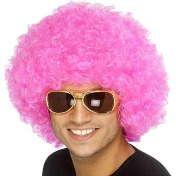 Pink Afro Perücke Erwachsene-0