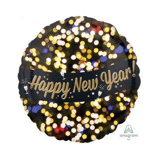 Happy New Year Folienballon Fireworks Stil 45 cm-0