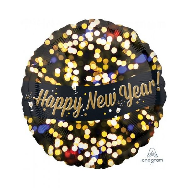 Happy New Year Folienballon Fireworks Stil 45 cm-0